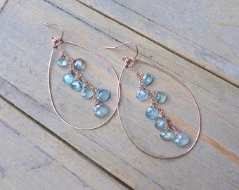 Raw Aquamarine Drops & 14k Rose Gold Filled Teardrop Earrings
