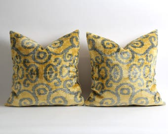 Set of 2 yellow gray decor velvet pillow cover // 18x18 inch silk velvet ikat pillows // handwoven yellow pillows