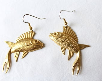 "Dangling earrings. ""Flying Fish"" - flying fish"
