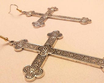 "Dangle earrings. ""Massive Silver Cross"""