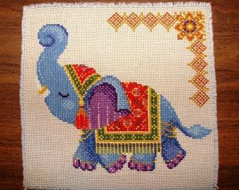 Completed Finished Cross Stitch Embroidery of Colorful Thai Elephant