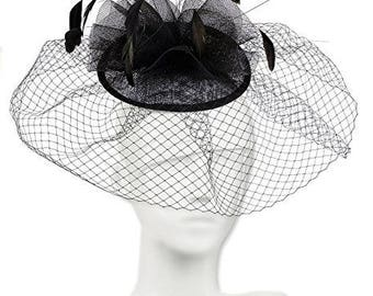 Classic Wedding Veiled Fascinator. Swirled Soft Cones Fascinator for Weddings, Mourning Dress or the Races, Netting and Feathers - Black