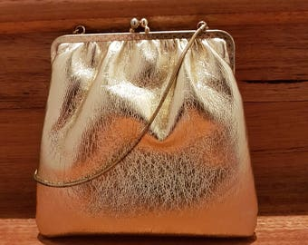 Vintage 60s Gold Leather Evening Bag