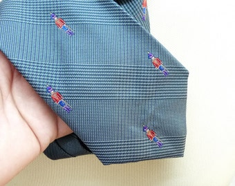 Mallory & Church Necktie, Guardsman or Soldier Design, Blue and Green, Retro, Silk Tie, Suit Tie, Business Tie, Menswear, Mens Accessories,