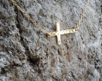 Gold Hammered Cross Necklace, Gold Fill, Hammered Cross, Gold Cross, Sideways Cross, Medium Cross