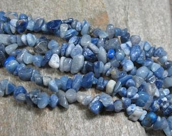 "Blue Aventurine Chip Beads - 36"" Strand - Item B0805"