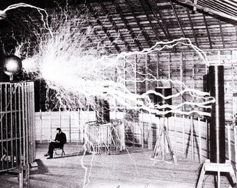 Nikola Tesla in his lab, electricity arcing through the building