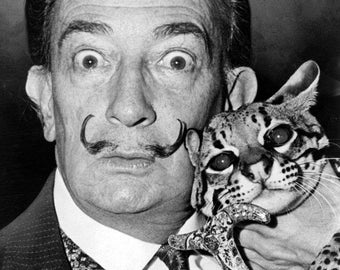 Salvador Dali with Babou, the ocelot and cane