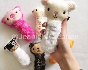 Plush sheep rattle / animal rattle/ lil lamb rattle / baby rattle