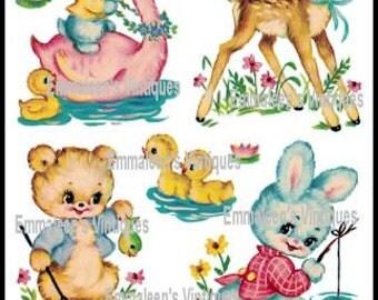 Vintage Shabby Nursery Baby Animals Swan, Deer, Bear, Bunny Waterslide Decals~ AN583