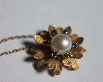 18K Gold Pearl Sapphire Necklace c1950s