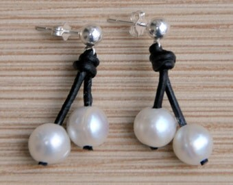 Pearl and Leather Earrings/Freshwater Pearl Earring/Pearl Earrings/Bridal/Round Pearls/Sterling Silver Posts/