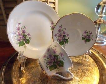 3 Piece  Coffee / Dessert Set, ROSINA CHINA Cup, Saucer & Dessert Plate, Violet Design Tea Set