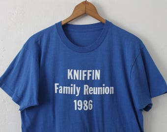 LARGE Vintage 1986 KNIFFIN Family Reunion Soft and Thin Graphic T-Shirt