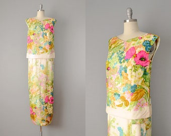 60s Dress // 1960's Charles Cooper Floral Silk Two Piece Column Dress  // Small