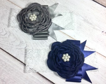 Satin Navy/Gray Flower with Burnt Edges Pearl Center Red Ribbon Lace Headband Fancy Photo Prop Newborn Baby Girl Toddler