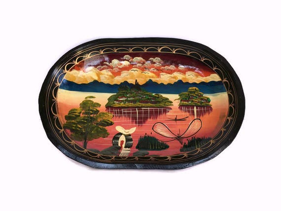 Hand carved wood platter vintage Mexican handpainted wooden plate