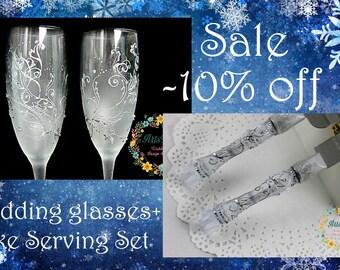 Winter Wedding Favor-Frosty Wedding champagne Glasses hand painted-Wedding Cake Serving Set-Silver Wedding Cake & Knife Set-Toasting flutes