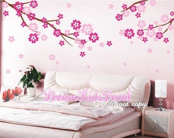 Cherry blossom wall decal, Tree wall decal, Wall Decal, Blossom Tree branch for Baby Nursery, Kids Childrens-DK159