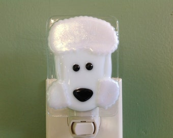 Poodle, Fused Glass, White, Dog, Nightlight, Nite Light, Nite Lite, Doggie, Night Light, Plug In, Wall Light