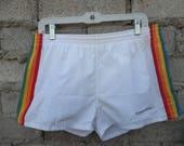 Vintage Shorts 1980s 90s Rainbow Nautical Cruise Love Boat sz fits Medium Micro Shorts Beach Travel Summer Unisex