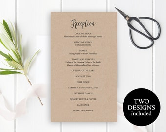 Reception program | Etsy