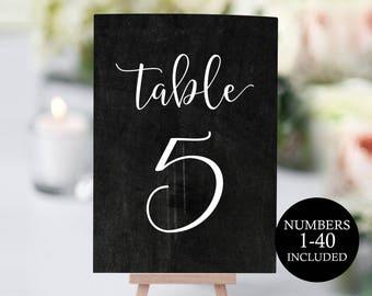 Wedding Table Numbers, Printable Table Numbers, Chalkboard Table, Table Numbers Wedding, 4x6, 5x7 Chalkboard, PDF Instant Download, MMPB01-3