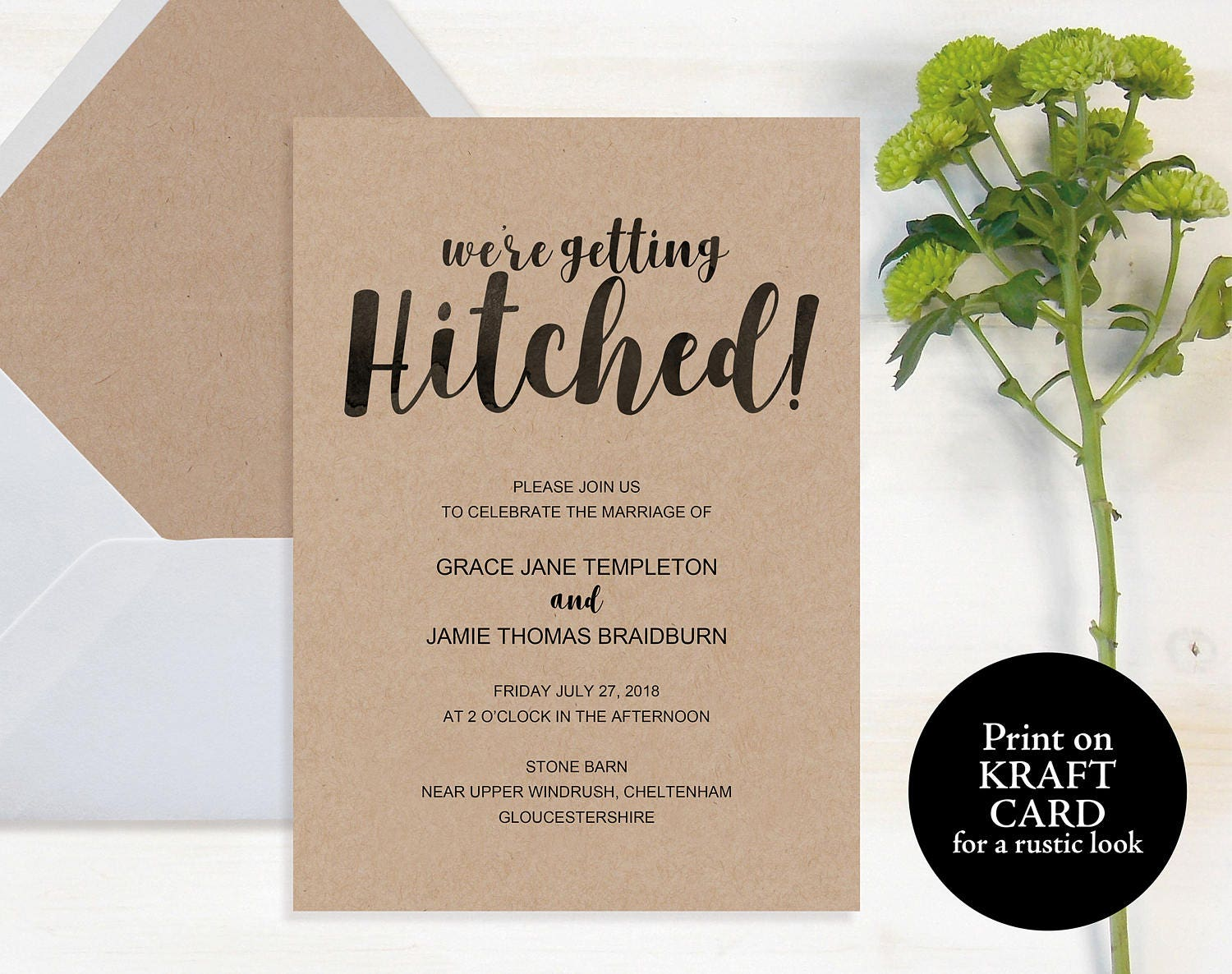 Hitched Wedding Invitations: Rustic Wedding Invitation Template Getting Hitched Printable