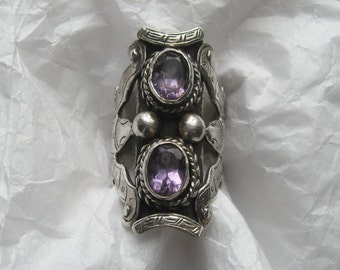 Vintage TIBETAN SADDLE RING with Amethysts and Bats, Chinese Luck Symbol!