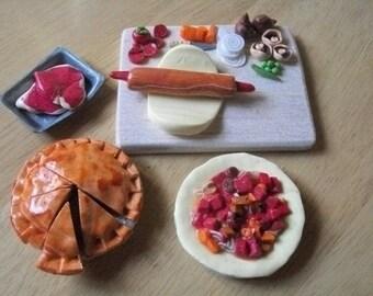 Barbie, Sindy, dolls  food, steak pie for dinner preparation  board
