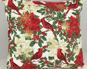 Christmas Cardinal and Poinsettia Pillow Cover