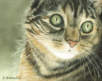Original watercolor print of a tabby cat 8 x 10 inches