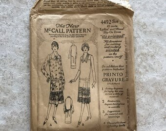 1920's  McCall Pattern Ladies' and Misses' Flapper Dress 4492