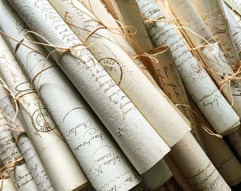 Beautiful bundles of original antique hand written French letters and documents