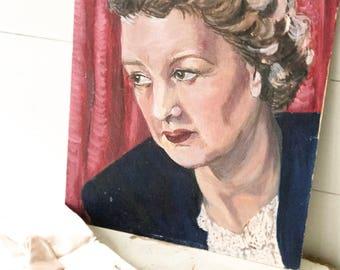 A striking 1950's original portrait painting by Alan Tabrum