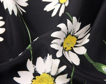 Premium Floral Printed Silk Fabric - Silk Crepe de Chine - Silk CDC Fabric with Daisy Print - SF2017-4