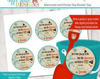 Mermaid And Pirate Birthday Brother and Sister Birthday Party - Toy Bucket Favor Tag - Thank You Tag