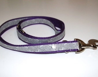 Dog leash adjustable purple grey SpitzenWerk, leash for dogs