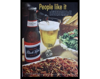 1964 Ad Carling Black Label Beer, Bar Art, Vintage Print Ad ETK326