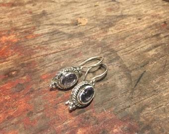925 Silver Amethyst hinged Earrings