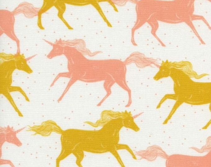 Unicorns in Yellow -Magic Forest -Sarah Watts for Cotton + Steel