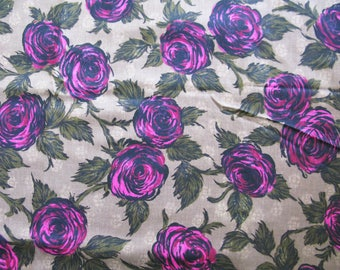 """Vintage 50' Hot Pink Rose  Sewing Fabric - 35"""" Wide x 3+ Yards - Fruit of The Loom"""