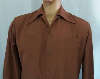Early 50s style brown rayon shirt hep cat rockabilly
