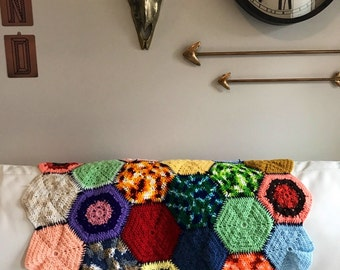 Vintage Hexagon Granny Square Afghan // Multi Colored // Red Orange Green Yellow Blue // Unique Gift