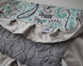 Mint, Gray, Charcoal Gray and white Paisley Lovey, Lovie Blanket with Gray Embossed Vine Back and Silver Gray Satin Trim, Baby Shower