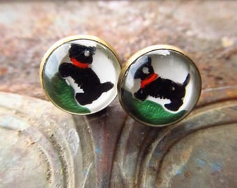 Vintage Glass Scotty Dog Earrings - Reverse Painted Scottie Dog Earrings - Upcycled Cufflinks