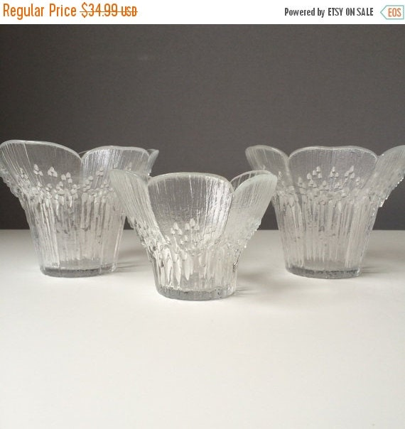 ON SALE Floriform Glass Candleholder or Bowl Trio, Lasisepat of Finland, Set of THREE