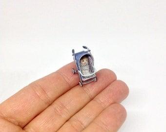 Miniature Bundle Baby Doll & Stroller Pram Pushchair Buggy For Dollhouse Nursery Art Doll Handmade OOAK