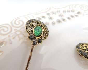 Vintage Green Grey Antique Style Hair Clip, Bridal hairpin, Jewelry, Bronze Hair Clips, Hair Pin, Pin with amazing Stones, Bobby Pins
