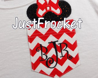 YOUTH Red and White Chevron Pocket with Sequin Mouse Ears and Bow - Crew Neck TShirt